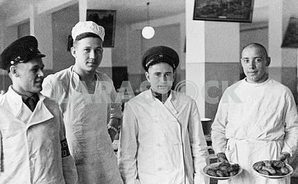 Soviet soldiers in the kitchen.