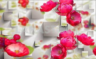 3D illustration, light background, large red peonies