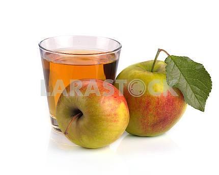 Apple juice in a glass of fruit
