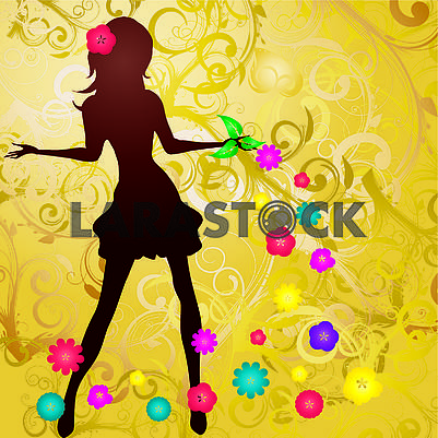 Spring background with slim girl silhouette and flowers swirl on  gold background