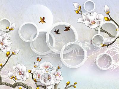 3д иллюстрация, светлый фон, белые позолоченные цветы, белые кольца, летящие птицы