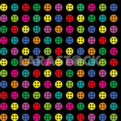 Seamless bright colored round buttons on black background