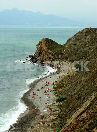 The beach in Ordzhonikidze. Crimea