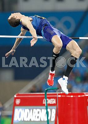 Bogdan Bondarenko, a bronze medalist in the high jump