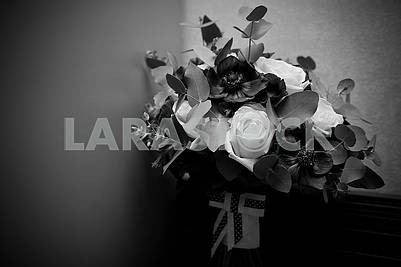 Background with free text space black and white - wedding bouquet