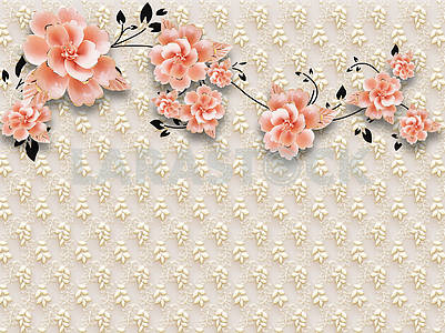 3D illustration, beige embossed background, lots of pink flower buds on a black branch