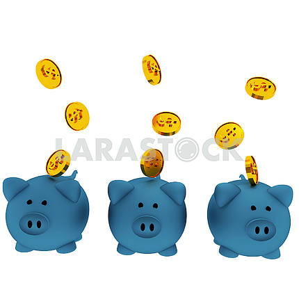 Three blue piggy bank for savings with coins in 3D render image