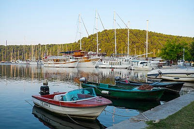 Yachts and boats on the lake in Skradin