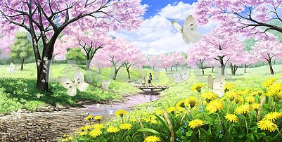 3d illustration, spring garden, stream with a bridge, yellow dandelions bloom and white butterflies fly