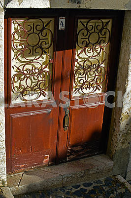 Entrance door of the house in the old house