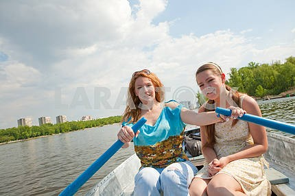 Mom and Daughter in boat