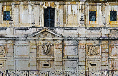 The wall of an old house in Lisbon