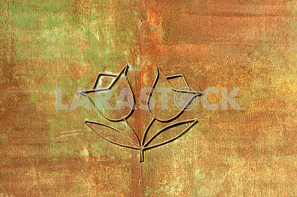 Iron flowers on rust background