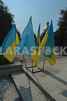 Four Ukrainian national flags