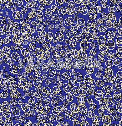 Blue Seamless background with Easter eggs