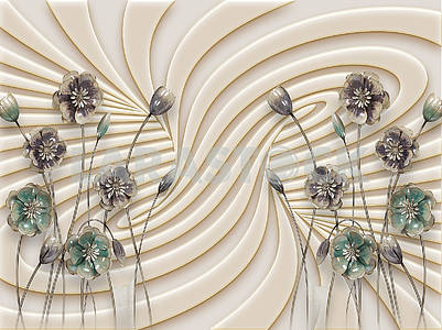3d illustration, beige background, embossed, waves, dark fabulous flowers