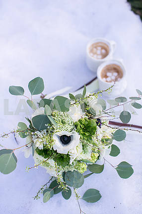 Wedding bouquet of white anemone