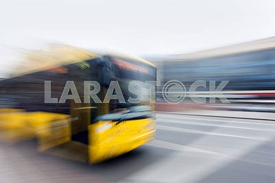 Yellow trolleybus  in the city