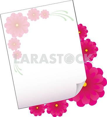 Фон с листом бумаги и цветами, часть 4
