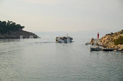 The ship leaves the bay of Makarska