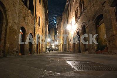 Night street in San Gimignano