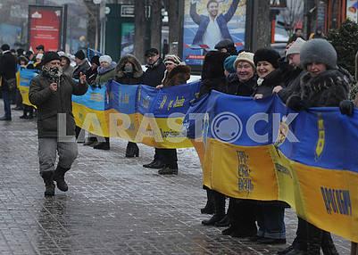 The longest flag of Ukraine was deployed on Khreshchatyk
