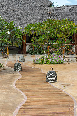 Wooden walkway to the beach in Zanzibar