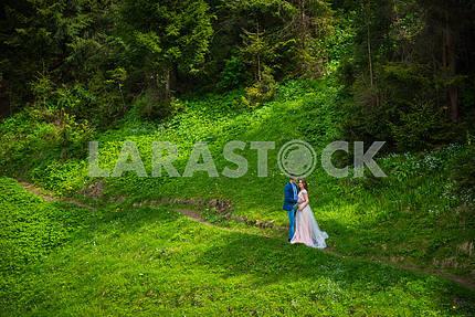 Свадьба в горах, пара в любви, фон горы,
