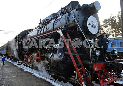 Steam locomotive train retro