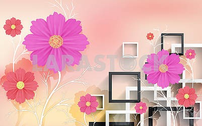 3d illustration, pastel background, white and black rectangular frames, multi-colored large flowers