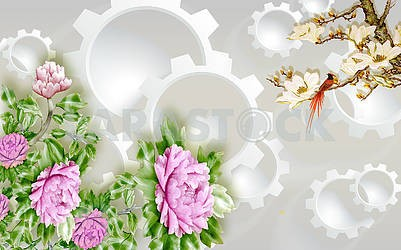 3d illustration, light background, gears, purple peonies, a branch with white gilded flowers and a colorful bird