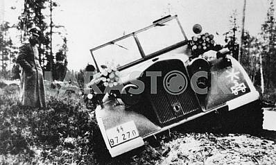 German officer near the stuck car. The Second World War