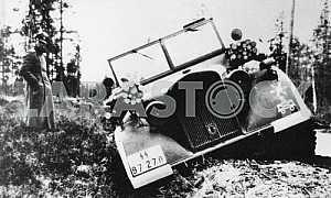 German officer near the stuck car. The Second World War