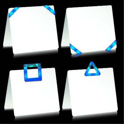 Set of sheets of paper as note pads with  blue barrettes