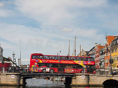 Tourist bus on the bridge in Copenhagen