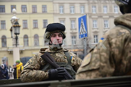 Participants of the march of defenders of Ukraine in Lviv