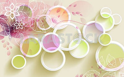 3d illustration, white rings with colored circles and white contour of leaves and flowers on a yellow-beige background