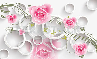 3d illustration, white background, white rings and large buds of roses