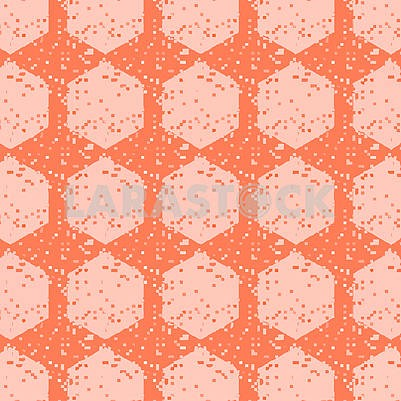 Abstract continuous pattern with pixelated squares and round tiles in coral, peach and cream colors.