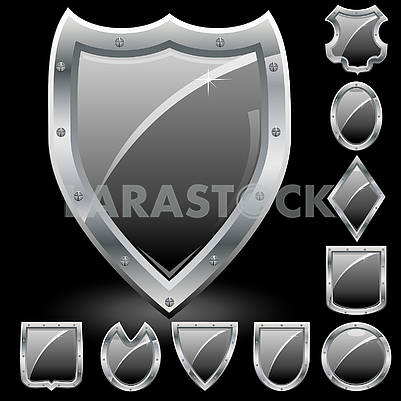 Set of black security shields