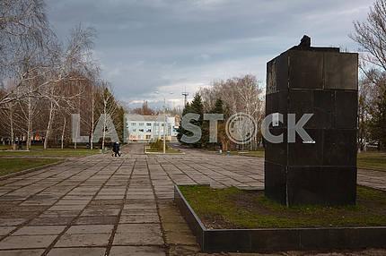 A pedestal from the monument of V.I. Lenin. Kramatorsk