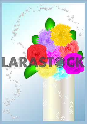 Background with bunch of flowers in vase