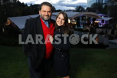 """Valery Chiglyaev with his wife on the 10th anniversary of the magazine """"Focus"""""""