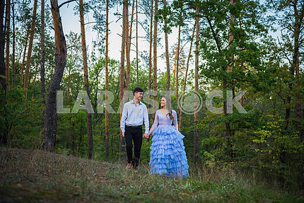 A love story couple, in love, together in the forrest park, girl in a beautiful violet dress,  evening, summer, holding each other, near the pine tree walking