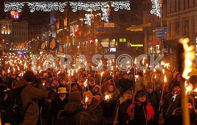 Torchlight procession participants