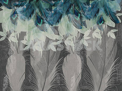 Abstract illustration, dark gray background, gray and blue feathers