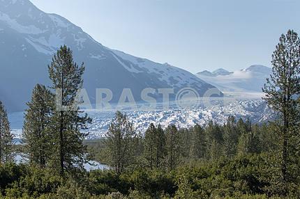 Panoramic view of Portage Glacier, Anchorage, Alaska.