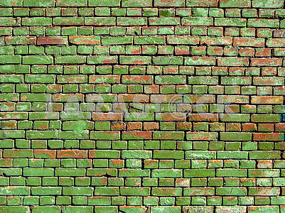 Old wall with red bricks painted in green.