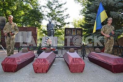The reburial of the fallen soldiers of the Red Army
