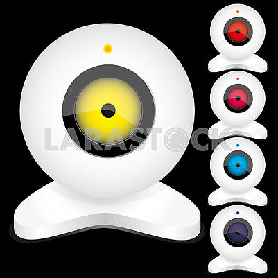 Set of white webcams with bright lights, part 2